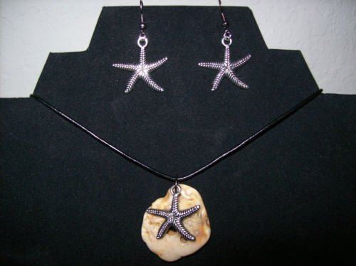 Necklace with Shell + Starfish Charm + Earrings Set + Leather Cord + FREE Gift Bag