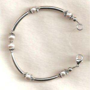 Sterling Silver Noodle Bracelet with Swarovski  Pearls