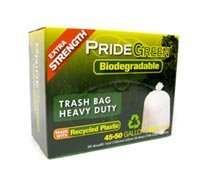 45-50 Gallon Heavy Duty PrideGreen� Biodegradable Trash Bags with Ties