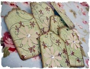 mini spring green tags/scrapbook embellishments