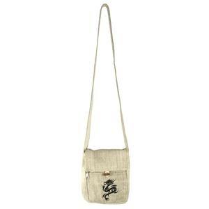 Embroidered Hemp Fabric Passport Bag-Black Drag
