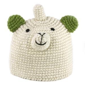kids crochet cap fox half fleece line
