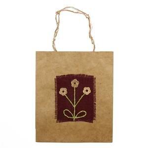 Natural handmade paper gift bag: 3 Flowers
