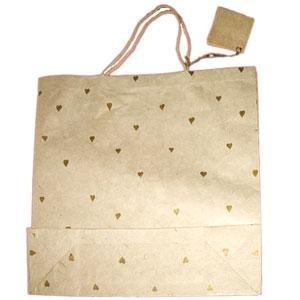 Natural handmade paper gift bag: Gold Hearts_Large