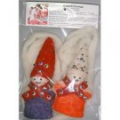 Set of 2 felt wool ornaments with 8 feet of white wool garland