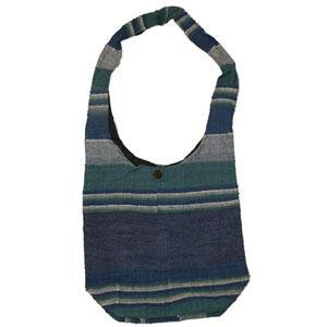 Hemp & Cotton Shoulder Bag - Blue Stripes