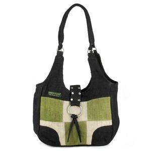 Hemp Shoulder Bag Black/Green Patch