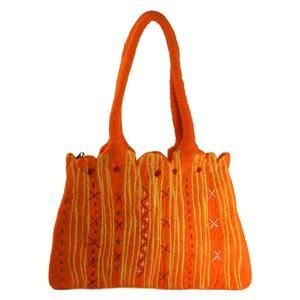 Pressed Wool Shoulder Bag - Orange