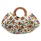 New Kashmir Wool Crewel Work Bag Large w Wood Handle