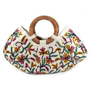 New Kashmir Wool Crewel Work Bag Large w Wood Handle