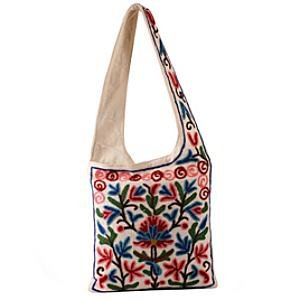 Kashmir Wool Crewel Work Bag Medium Shoulder Strap