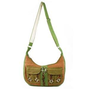 Hemp Shoulder Bag w/ Emb pockets and Org Cotton Lining