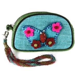 Small hemp hand bag with felt butterfly