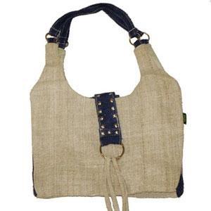 Hemp Handbag - Natural & Blue