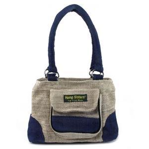 Hemp Handbag - Natural and Blue