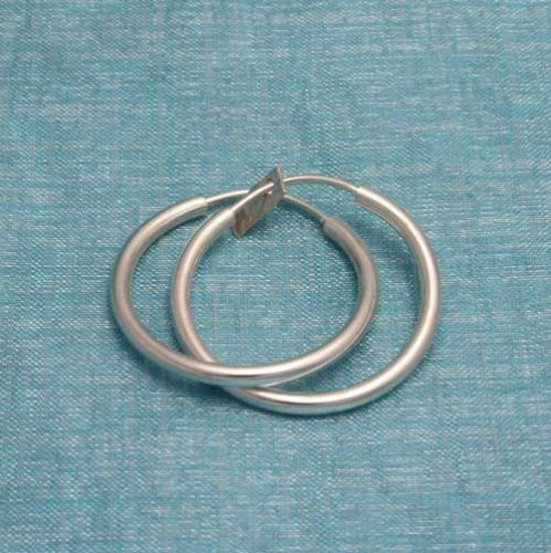 Sterling Silver Hoop Earrings .925 From Taxco, Mexico