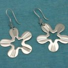 Sterling Silver Flower Star Dangle Earrings .925 From Taxco, Mexico