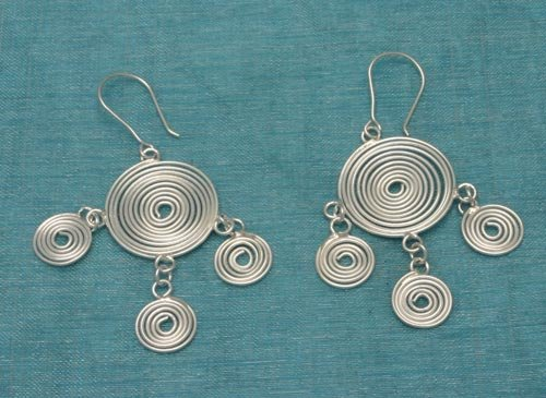 Sterling Silver Multi Spiral Dangle Earrings .925 From Taxco, Mexico