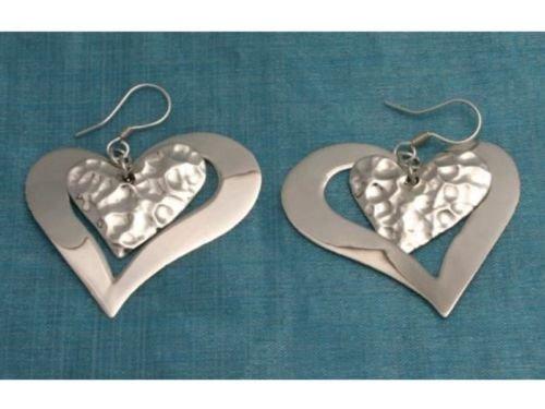 Mexican Sterling Silver Heart Dangle Earrings Taxco 925