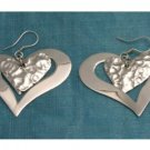 Mexican Sterling Silver Heart Dangle Earrings Taxco 925