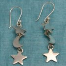 Sterling Silver Dangle Star & Moon Earrings Taxco .925