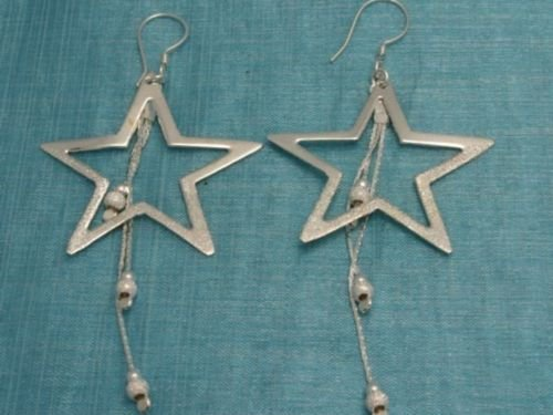 Mexican Sterling Silver Dangle Big Star Earrings .925
