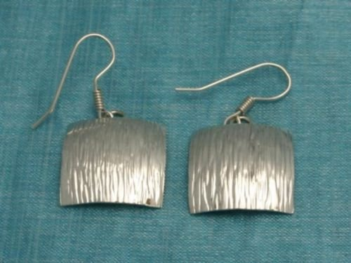 Mexican Sterling Silver Dangle Square Earrings Taxco
