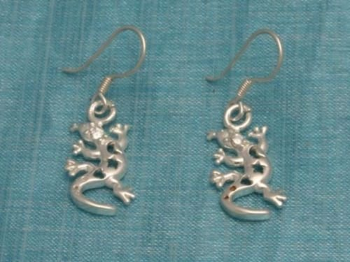 Mexican Sterling Silver Iguana Dangle Earrings Taxco