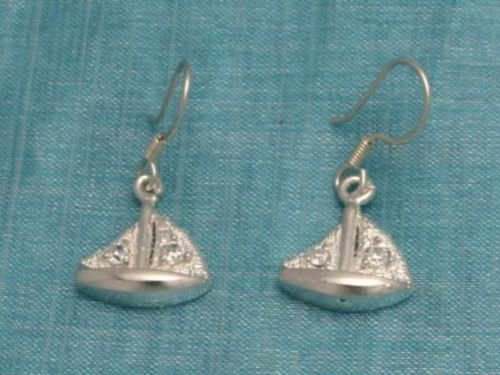 Sterling Silver Dangle Boat Earrings From Taxco Mexico