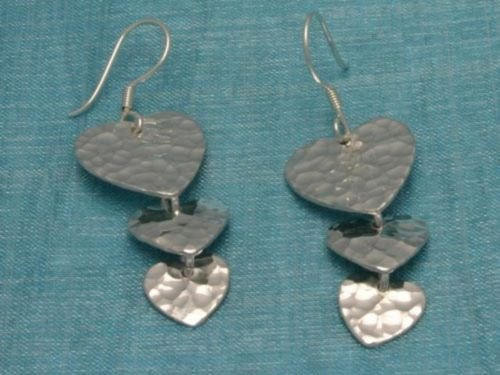 Mexican Sterling Silver 3 Hearts Dangle Earrings Taxco