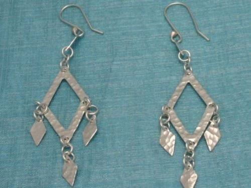 Sterling Silver Squared Dangle Earrings Mexico .925