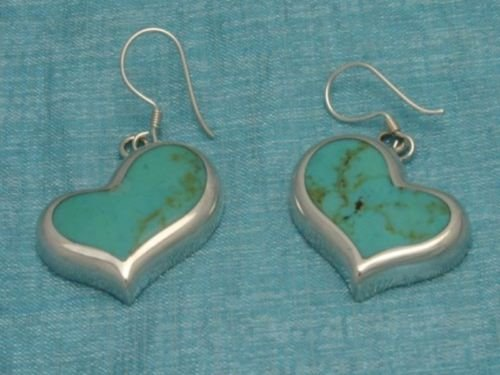 Mexican Sterling Silver Heart Turquoise Earrings .925