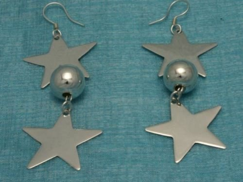 Sterling Silver Dangle Heart & Sphere Earrings Taxco