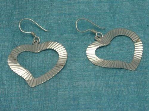 Mexican Sterling Silver Dangle Heart Earrings Taxco 925