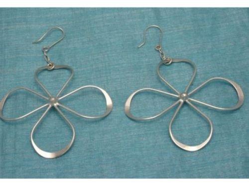 Mexican Sterling Flower Power Dangle Earrings .925