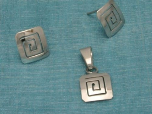 Mexican Sterling Silver Stud Earrings With Pendant Set