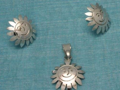 Sterling Silver Sun Deco Studs & Pendant Set .925 Taxco