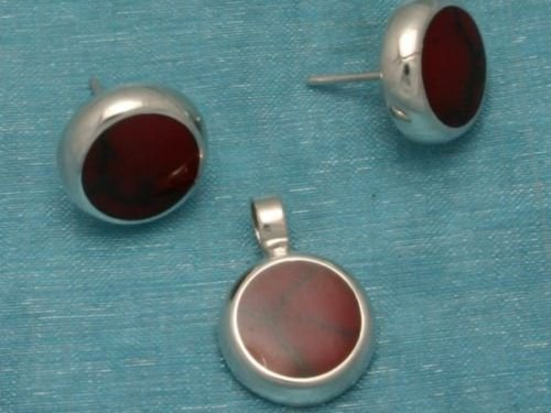 Sterling Silver Round Studs & Pendant Set Red Inlay 925