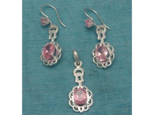 Sterling Silver Pink CZ Dangle Earrings & Pendant Set