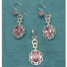 Sterling Silver Pink CZ Dangle Earrings & Pendant Set