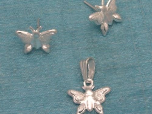 Sterling Silver Mini Butterfly Studs & Pendant Set .925