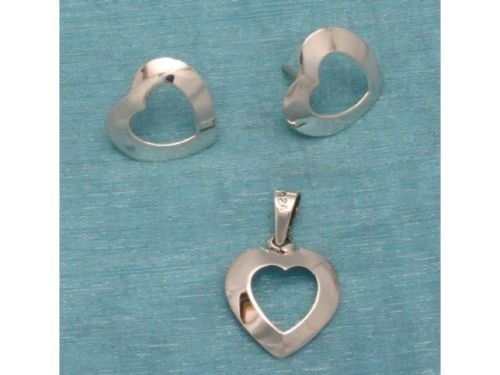 Sterling Silver Heart Studs & Pendant Set .925 Taxco Mx