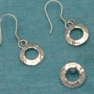 Sterling Silver Dangle Round Earrings & Pendant Set 925