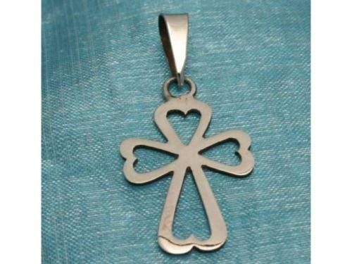 Sterling Silver Small Heart Cross Pendant .925 Taxco