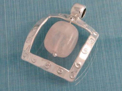 Sterling Silver Natural Quartz Pendant .925 Taxco Mx