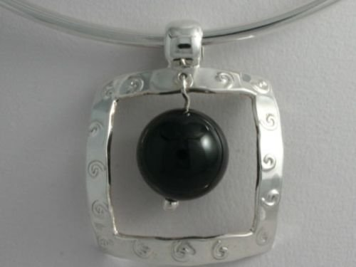 Sterling Silver Natural Onyx Pendant .925 Taxco Mx