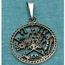 Sterling Silver 5 Star Round Pendant .925 Taxco Mexico
