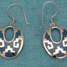Mexican Sterling Silver Aztec Design Dangle Earrings