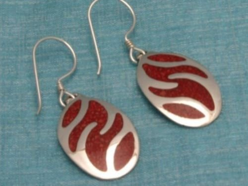 Sterling Silver Red Inlay Dangle Earrings Taxco Mexico