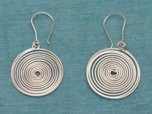 Sterling Silver Spiral Dangle Earrings .925 Taxco Mx